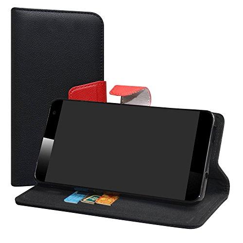 LiuShan Vodafone Smart Platinum 7 Hülle, Brieftasche Handyhülle Schutzhülle PU Leder mit Kartenfächer und Standfunktion für Vodafone Smart Platinum 7 Smartphone,Schwarz