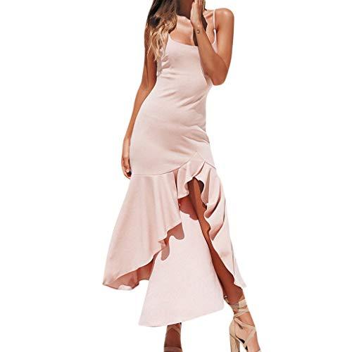 Kolila Damen Sling Lange Kleider Womens Einfarbig Rüschen Schulterfrei Sleeveless Princess Dress Elegantes Abendkleid(Rosa,XL)