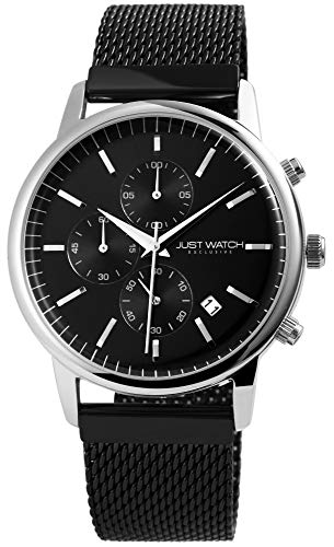 JUST WATCH Exclusive JWE007 Chronograph Herrenuhr mit Edelstahlband (schwarz/Silber)