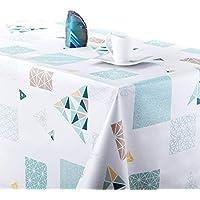 KP Home Manteles Hule Modernos Scandic Blanco con Turquesa de PVC Fácil de Limpiar - 200 x 140 cm - Mantel Rectangular de Vinilo Plástico Fácilmente Limpiable con Diseño de Escandinavia Geometrico