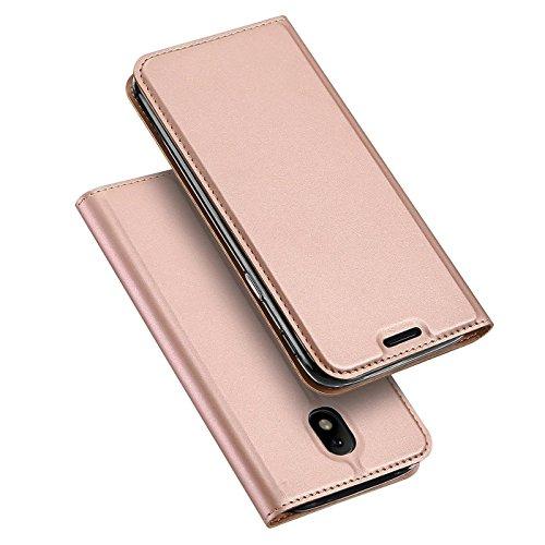 Verco Handyhülle für Galaxy J7 (2017), Premium Handy Flip Cover für Samsung Galaxy J7 Hülle [integr. Magnet] Book Case PU Leder Tasche [J7 J730], Rosegold