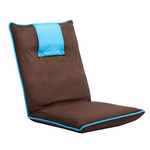 LRSFM Bett faul Sofa Computer Rückenlehne Stuhl Tatami Stuhl Faltbarer Beinloser Stuhl Hocker Japanischen Stil Boden Fenster Stuhl (Farbe : Blau)