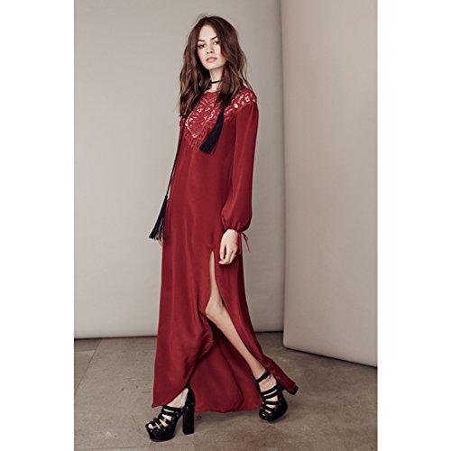 M-Queen Casual Maxi Robe Femmes Manche Longue Dos Nu Bodycon Dress Crochet Dentelle Long Robe Rouge
