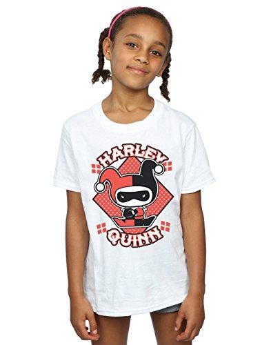 DC Comics niñas Chibi Harley Quinn Badge Camiseta 5-6 Years Blanco