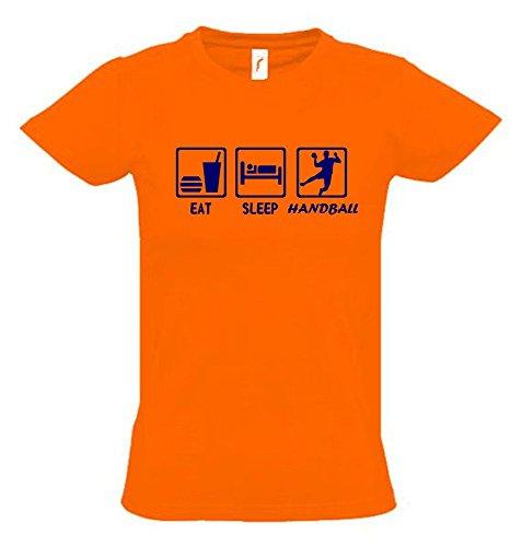 EAT SLEEP HANDBALL Kinder T-Shirt orange-navy, Gr.164cm