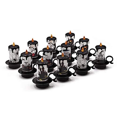 Kerze-lampen-basis (12er Set LED Flackernd Flamme Flackernd Halloween Fake Fake Halloween Deko Halloween Dekoration Dekoration)