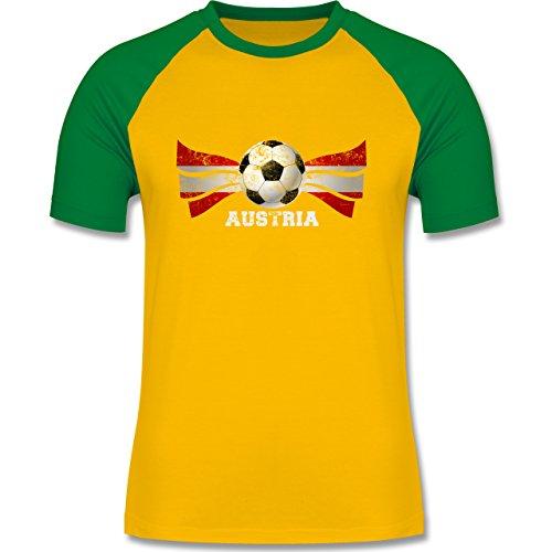 EM 2016 - Frankreich - Austria Fußball Vintage - zweifarbiges Baseballshirt  für Männer Gelb/Grün