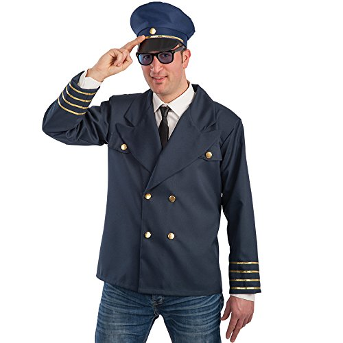 (CARNIVAL TOYS S.R.L. Carnival Toys 83283 - Flugkapitän Jacke und Mütze, Kostüm, Größe M-L)