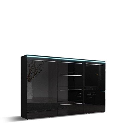 Mirjan24  Kommode Sideboard Bergamo mit 4 Schubladen, Highboard, Anrichte, Mehrzweckschrank, Wohnzimmerschrank, Schrank, Wohnzimmer (ohne Beleuchtung, Schwarz/Schwarz Hochglanz)