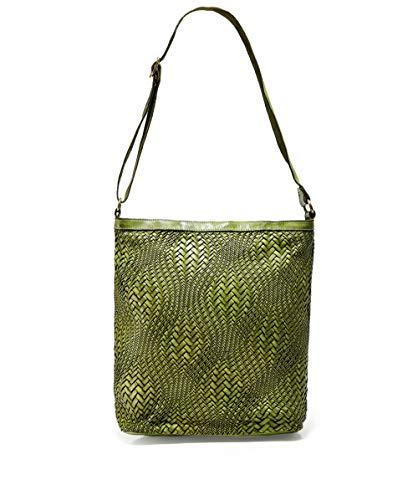 Campomaggi Damen Großes Leder geflochtene Shopper-Tasche Grün Ein Größe