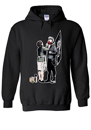 Banksy Punk Mum Anarchy Street Art Novelty Black Men Women Unisex Hooded Sweatshirt Hoodie-XL