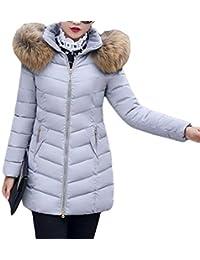 TianBin Ropa Chaqueta de Mujer Color Sólido Invierno Slim Fit Abrigos Largo con Capucha de Cuello