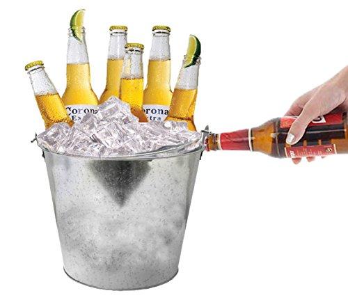 Retro Vintage Zink Ice Eimer mit Flaschenöffner Bier Weinkühler Home Bar Set