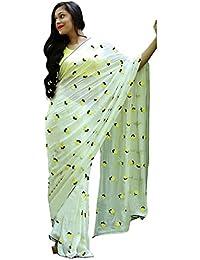 Swara Fashion Women's Georgette Thread Work Saree(SFPSN-55_White, Yellow)