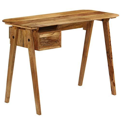 Festnight scrivania, cassettiera da ufficio in legno massello di mango 110x50x76 cm