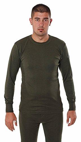 Forestman - Uomo Leggera Manica Lunga Termica Calda Cotone Intima Maglietta / Maglia con Freddo Tempo, Outdoor Green