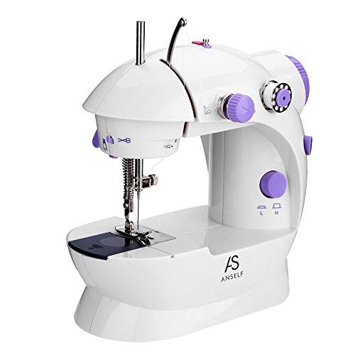 Galapara Mini Machine à Coudre Électrique, Anself 2 Réglage de La Vitesse avec Lumière Pied Pedal Extension Table AC100-240 V