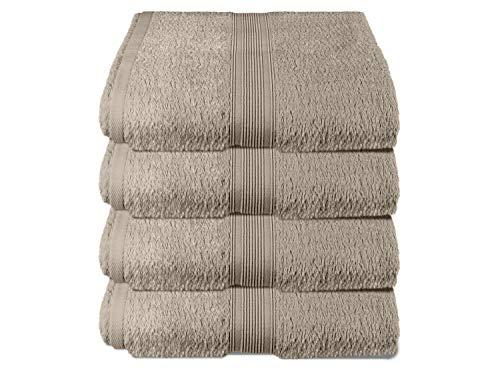 Packs zum Sparpreis - solide Frottiertücher - erhältlich in 18 modernen Farben und 8 verschiedenen Größen, 4er Pack Handtücher (50 x 100 cm), sand
