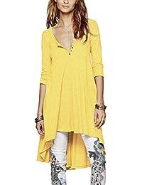 Urban GoCo Femme Chemise 3/4 Manches Longue Tunique Mini Robe Col Boutonné T-Shirt Tops Irrégulière Blouse