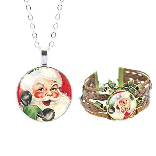 Jiayiqi Femmes Belle Santa Claus Verre Cabochon Collier Papillon Joli Bracelet Bijoux Ensemble No3