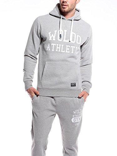 WOLDO Athletic–Felpa con cappuccio da uomo, taglio aderente, per sport, fitness Gretzky / grau/weiß