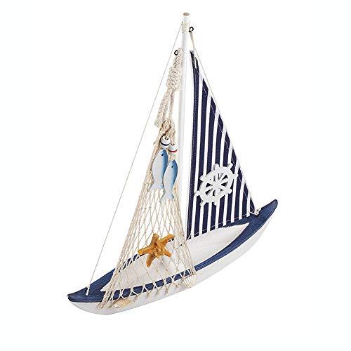 Guve Modello di Barca a Vela di Stelle Marine in Legno - Set di Decorazioni per la casa di Barche a Vela, Rete da Pesca Nautica