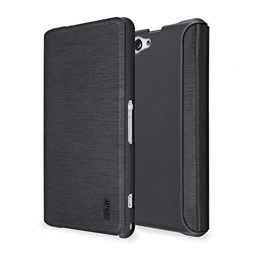 Artwizz 2940-1050 SmartJacket Etui für Sony Xperia Z1 Compact - Schutz-Hülle im Metall-Look mit Frontcover, Rückseitenschutz und geschmeidigen Grip - Designed in Berlin - Schwarz