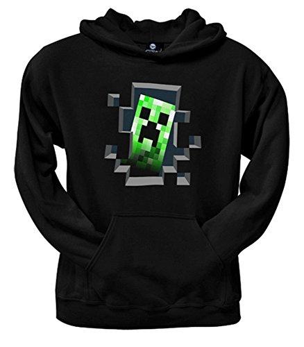 Minecraft Creeper Inside Kinder Hoodie Kapuzenpullover Schwarz (Creeper Hoodie)