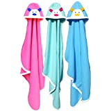 BRANDONN Baby's Blanket (36 X 27, Blue, Hotpink and Sea Green) - Pack of 3
