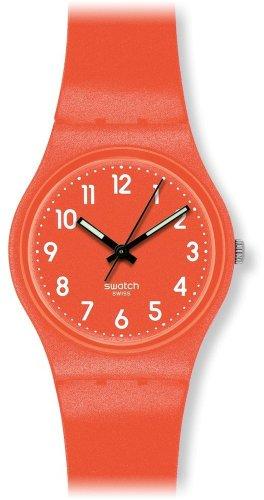 Swatch GO109 - Orologio da polso unisex, cinturino in silicone colore arancione