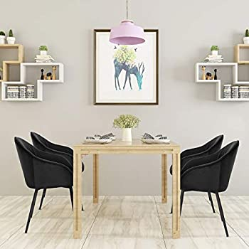 E-starain Dining Chairs Set of 4 Vintage Kitchen Chairs Leisure Corner Chairs With Frosted Metal Legs Velvet Seat and Backrests,Black