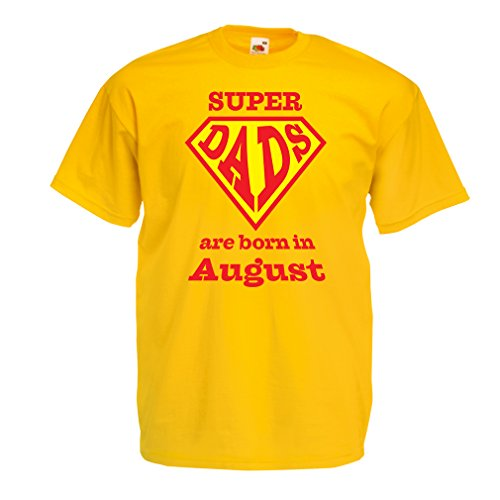 Männer T-Shirt Super-Väter sind im Monat August geboren Geburtstags-T-Shirts Geschenke (XX-Large Gelb Mehrfarben)