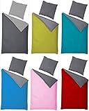 Naturawalk Renforcé Bettwäsche 100% BIO Baumwolle in 6 modernen Farbkombinationen mit Reissverschluss, 2 od. 4 TLG. Garnitur - Grösse 4 tlg. 135x200cm, 80x80 cm, Farbe Anthrazit/Rot
