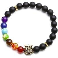 JSDDE Lava Armband, Zen-Buddhismus Armreif mit Eule Energietherapie Yoga-Armband 7 Chakra Healing Matt Schwarz... preisvergleich bei billige-tabletten.eu