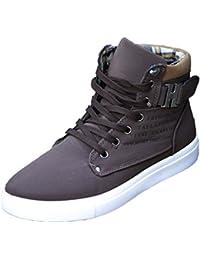 Oasap Hombre Zapatos Cima Alta Cordón-Arriba Adorno de Hebilla