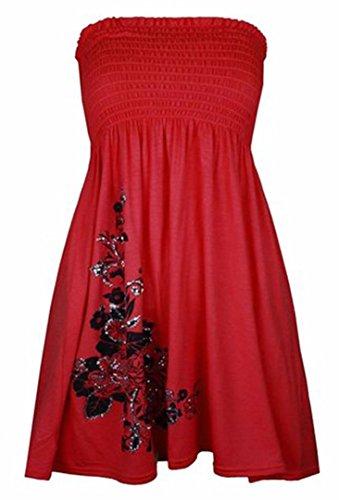 Top/abito da donna senza spalline, tinta unita Red#1