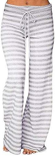 NINGSANJIN Damen Hosen Frauen gestreifte hohe Größe elastische lose Weißes Bein Hose Tanzen Yoga Hosen 492