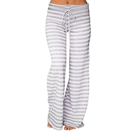 MOIKA Hosen Damen Damen Streifenmuster Weite Bein Lange Hose Hohe Taille Elastische Lose Breite Beinhose Tanzen Yoga Hose