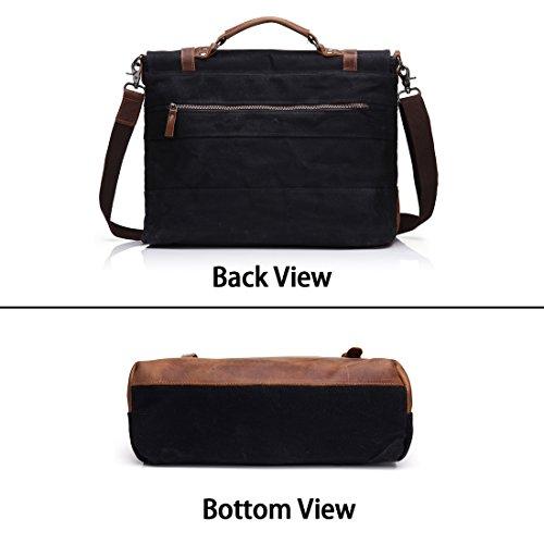 Sacchetto di messaggero da laptop da 15,6 pollici per uomini - Borsa da viaggio con borchie a tracolla con borchie removibili nero Nero