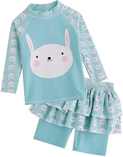 Vaenait Baby Kinder Maedchen Rashguard Bademode langarm Hemd und kurz Hose Set With Cap Wind Bunny S
