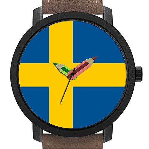 Geschenk für Erwachsene | Kinder | Geburtstag | Stilvolle niedliche Armbanduhr mit Bleistift Form Pointer Ornament Geschenk 282.Patriotische Kinder schauen mit Fahne von Schweden
