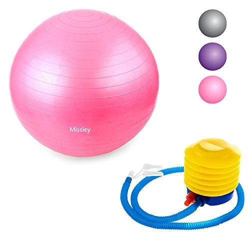 missley Balle d'exercice, Premium Extra Épais de yoga–Ballon Suisse avec pompe à pied Ø.–Antidérapant. 65cm Taille Balles de fitness, Rose