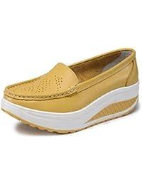 Mujer Genuina Cuero Zapatos Plataforma Suave Zapatos de Trabajo Mujer Swing Zapatos Mujer cuñas Sola Mujer