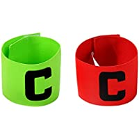 2 PCS Lettera C bracciale elastico Distintivo Gioco Calcio capitano Armband Distintivo regolabile per Calcio, Pallacanestro, Tennis Verde Rosso