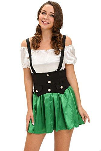 New Green & Weiß Shamrock 2Bier Mädchen Kostüm Halloween Fancy Dress Hen Party Tänzerin Party Wear Abend Größe M UK 10EU 38 (Bier-halloween-kostüme)