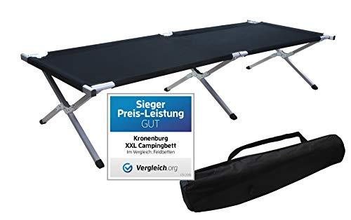 Kronenburg XXL Campingbett Feldbett 210 cm x 72 cm x 45 cm - Belastbarkeit bis 200 kg - in Schwarz