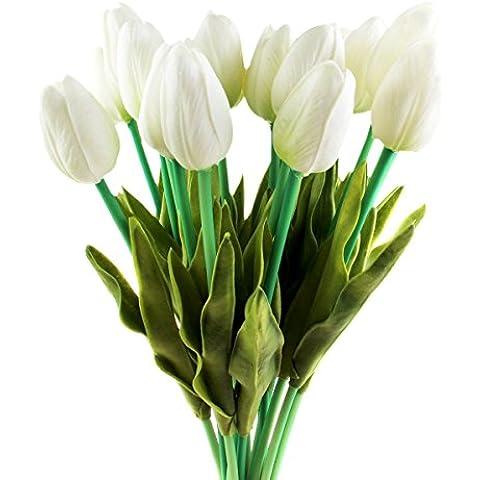 TININNA 10 Pcs artificiales de Tulipán de la flor artificial para la decoración casera sin jarrón y cesta del Hydrangea para decoracion de cocina,fiestas, bodas.(Blanco)