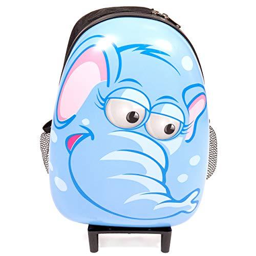 Maleta rígida para niños con Ruedas y asa retráctil Azul Elefante 45 x 30 x 12 cm
