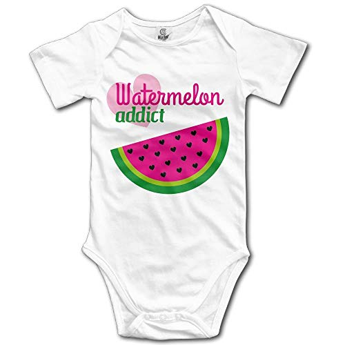 TKMSH Watermelon Addict Boy's & Girl's Short Sleeve Baby Climbing Clothes White -