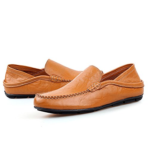 AgeeMi Shoes Herren Mokassin Slip on Rund Zehe Lackleder Schuhe für Klassischer Braun